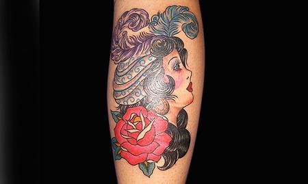 Tattoos - Traditional Girl Tattoo - 61612