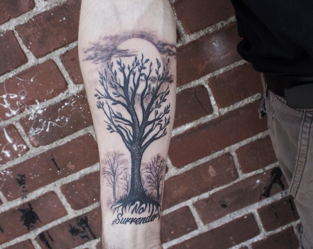 Black Stippled Tree on Forearm by Ben Licata: TattooNOW