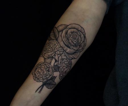 Ben Licata - Black Rose and Carnation Tattoo on Forearm