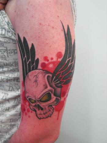 Tattoos - Custom flying skull tattoo - 51918