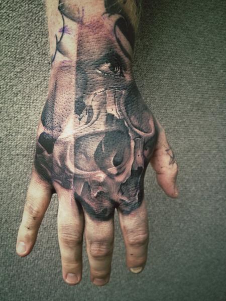 Tattoos - skull hand eye - 89183