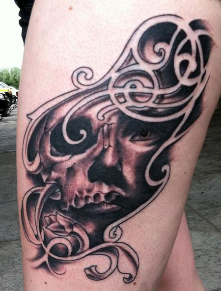 Tattoos - Custom skull girl filigree - 68273