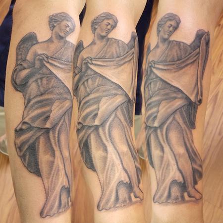 Tattoos - Black and grey angel tattoo - 120583