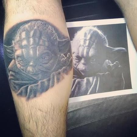 Tattoos - Yoda black and grey portrait tattoo - 125245