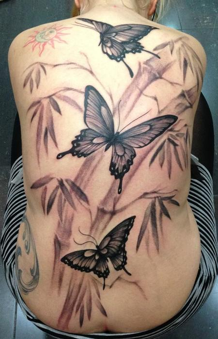 Tattoos - Oriental butterflies and bamboo black and gray back piece - 89161