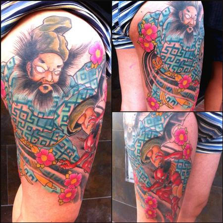 Tattoos - Shoki Japanese lithography leg tattoo in color - 89165