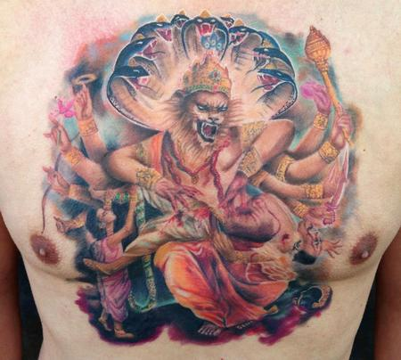 Tattoos - Narasimha chest piece in color - 89105