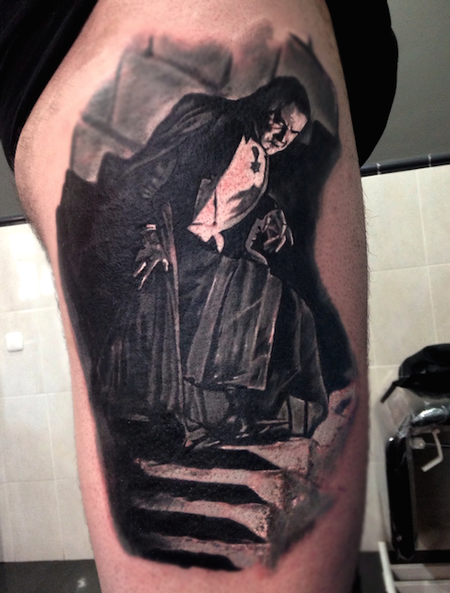 Tattoos - Bela Lugosi realistic black and grey - 89991