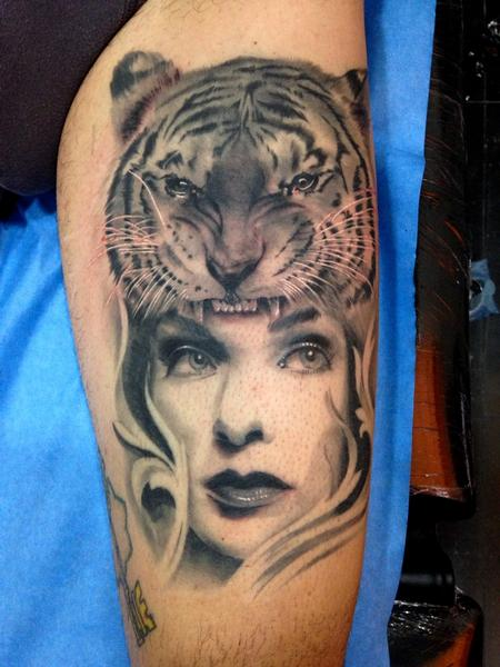 Tattoos - Tiger and Girl realistic black and grey leg tattoo HEALED - 89160