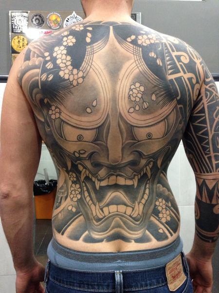 Tattoos - Hannya black and grey back piece - 89157