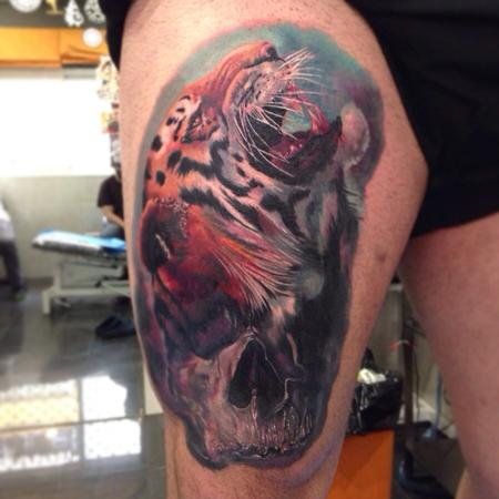 Tattoos - Skull and tiger realistic tattoo in colour - 89617
