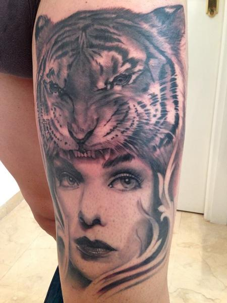 Tattoos - Tiger and Girl realistic black and grey leg tattoo - 89081