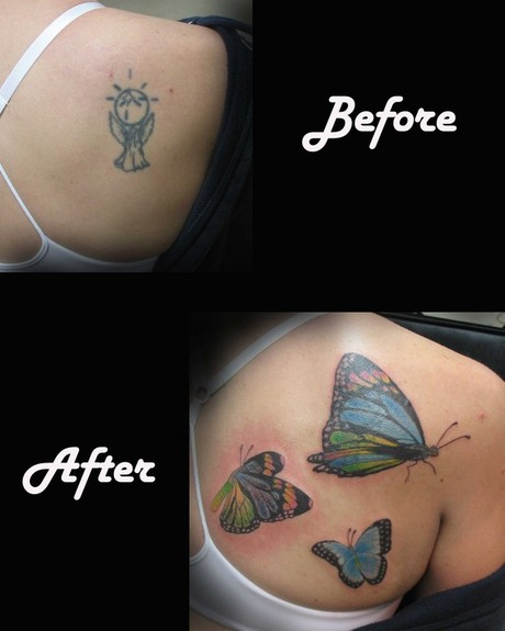 Tattoos - Colorful Butterfly Cover up - 52909