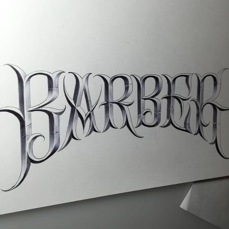Ricky Clipz - Barber Ball Point Pen Lettering Illustration