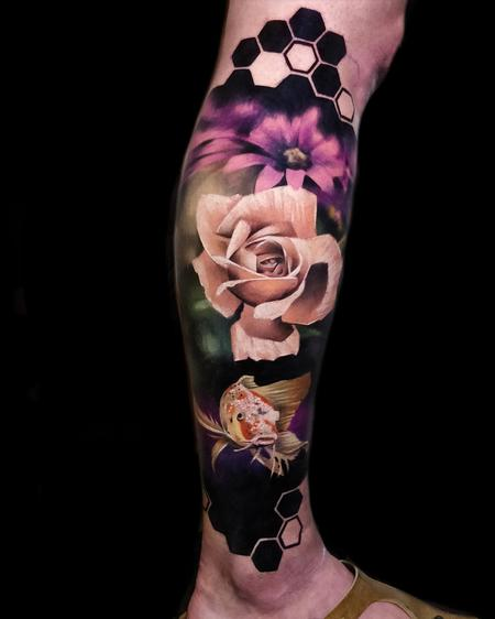 Saga Anderson - Flowers and Fish Tattoo