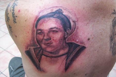 Tattoos - Black and Grey Sailor Portrait - 60488