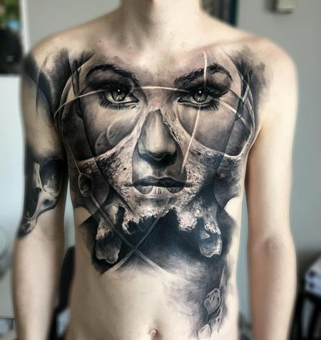 Jak Connolly - Celestial Woman Chest Tattoo