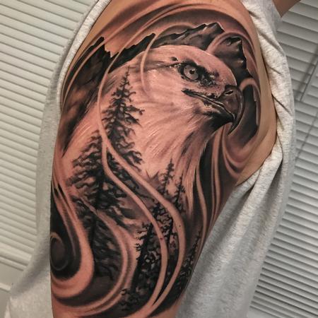 Tattoos - Eagle landscape tattoo - 131277