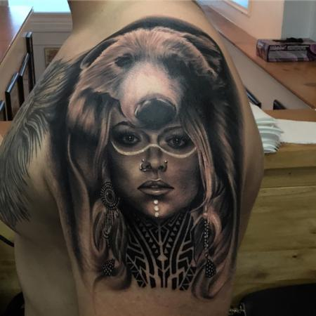 Tattoos - Woman wearing bear headdress - 129078