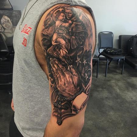 Tattoos - Black and Gray Prayer Montage Tattoo - 117208