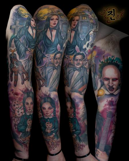 Tattoos - Addams Family Sleeve - 94936