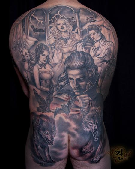 Tattoos - Dracula Back Piece - 94943