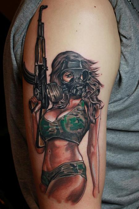 Tattoos - Gas mask girl - 82394