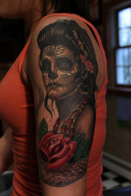 Tattoos - Work in progress Dia De Los Muertos girl - 75608