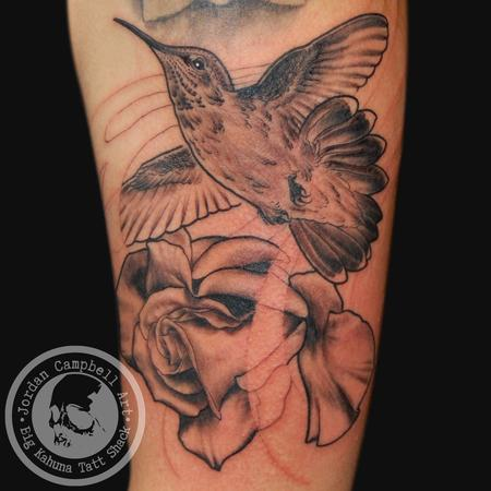 Tattoos - Hummingbird & Rose - 103847