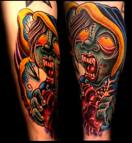 Tattoos - vampire kid holding heart - 18548