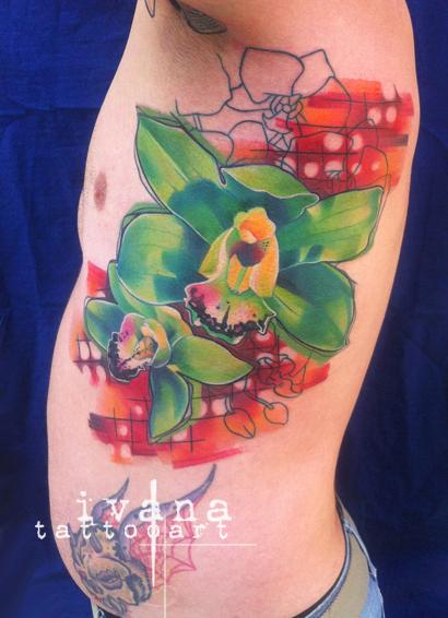 Ivana Tattoo Art - Green Orchids