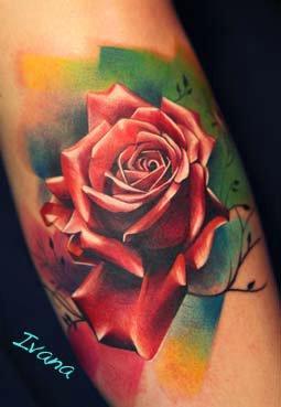 Ivana Tattoo Art - color rose tattoo