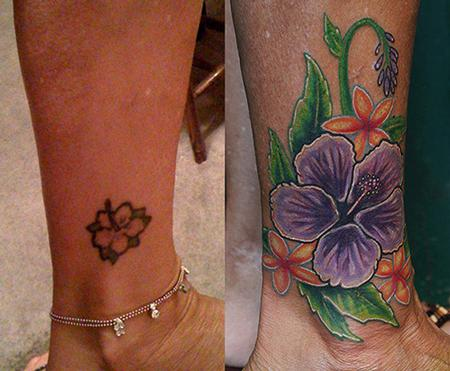 Tattoos - Flower cover up tattoo - 71108