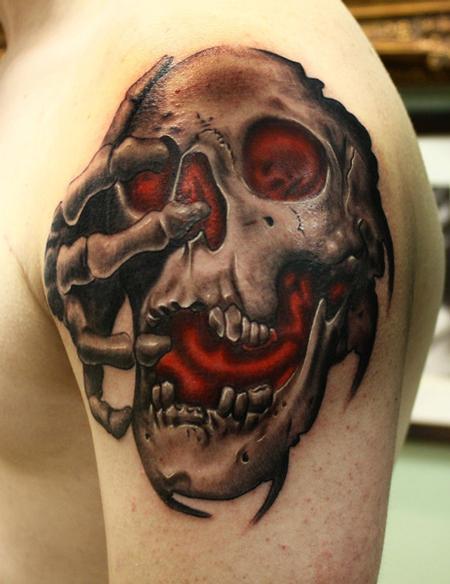 Tattoos - Skull tattoo with red glow - 84338