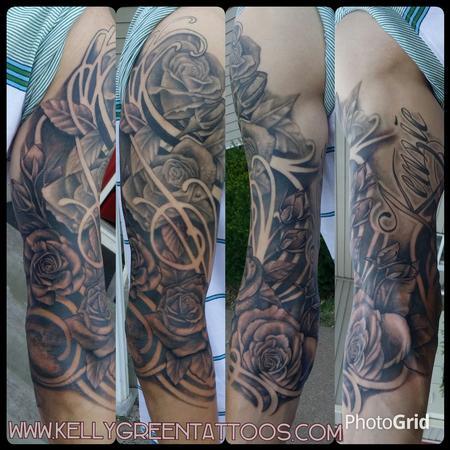 Tattoos - black and grey roses - 99651