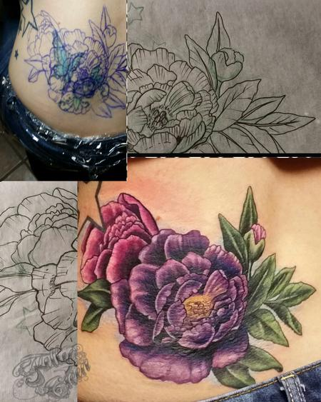 Tattoos - peony cover-up - 99634