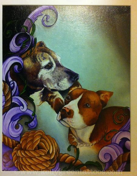 Kelly Green - Pitbull pups painting