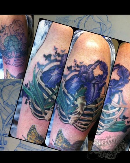 Tattoos - Iris Ribcage cover-up - 99648