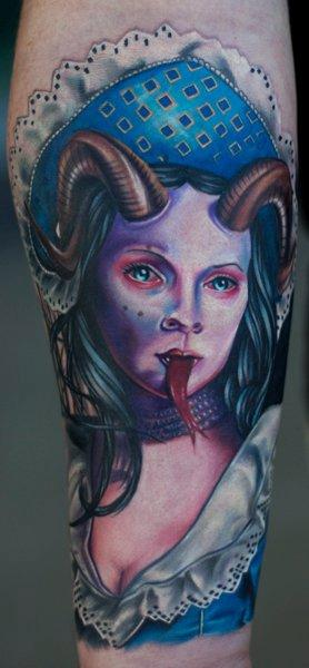 Tattoos - Evil Victorian Girl Tattoo - 57263