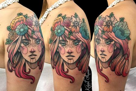 Tattoos - Girl with flower crown - 128442
