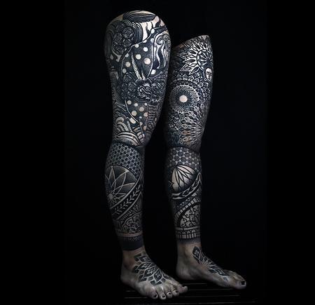 Tattoos - Blackwork Leg Sleeves - 142962