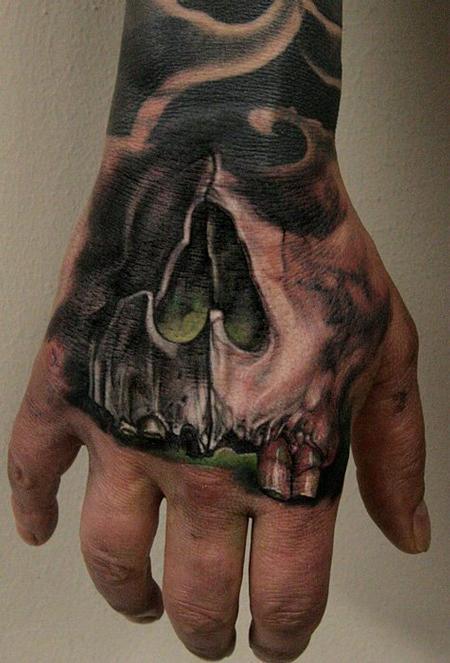 Tattoos - skull hand - 65534