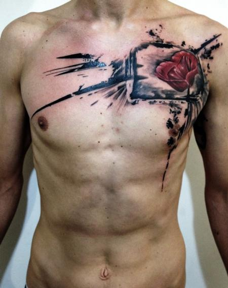 Tattoos - Black and Red Poppy - 95127