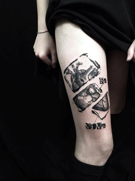 Tattoos - Black & Gray Heart - 95129