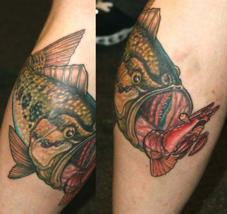 Tattoos - large mouth bass and crayfish  - 64817
