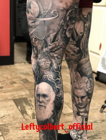 Tattoos - Classics Black and Grey Leg Sleeve  - 138644