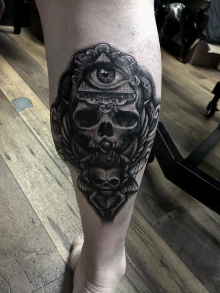 Tattoos - Skull Calf Leg Tattoo - 138643