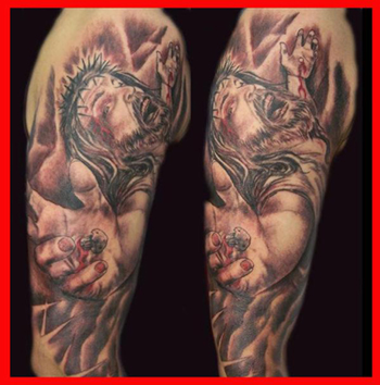 Tattoos - Jesus Suffering on The Cross - 21599