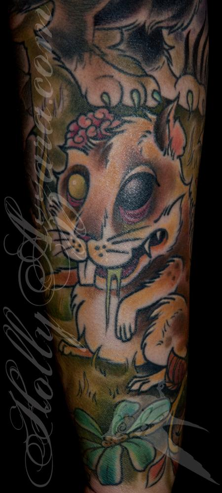 Holly Azzara - Zombie Pet Cemetery Sleeve Coverup Rat Zombie Detail