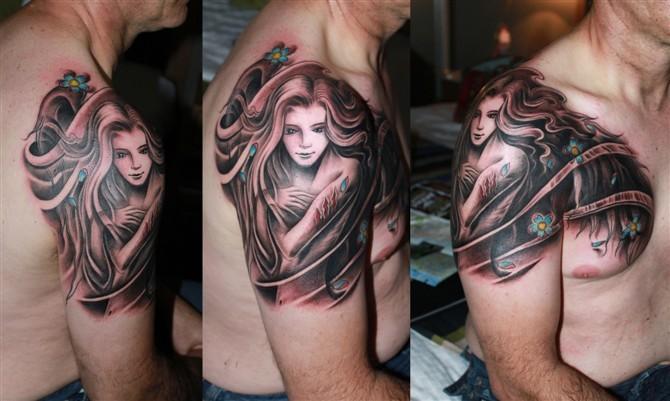 Tattoos - Flowing Girl Tattoo - 49575